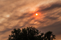 Smoke from regional wildfires has drifted into the San Francisco Bay area causing a red sky an hour before sunset.