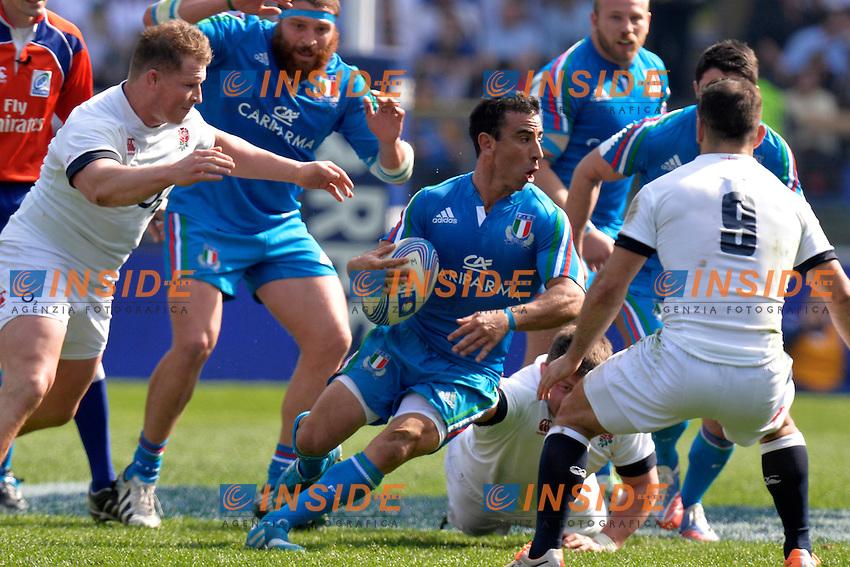 "Luciano Orquera Italia.<br /> Roma 15-03-2014, Stadio Olimpico. Sei Nazioni di Rugby - Italia vs Inghilterra / Rugby Six Nations - Italy vs England - Foto ""Antonietta Baldassarre"" Insidefoto"