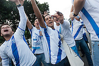 Guatemalan fans cheer before the United States played Guatemala at Estadio Mateo Flores in Guatemala City, Guatemala in a World Cup Qualifier on Tue. June 12, 2012.