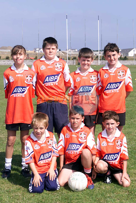 Back Row L/R, Kim McKenna, Pat Lynch, Pairic Smith and James califf, Front Row L/R, John O'Rourke, Cathal Lynch and Ronan Califf at the Louth GAA Summer Camp in the Dreadnots football field, Clogherhead..Picture Paul Mohan Newsfile
