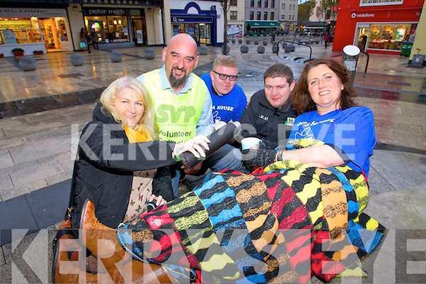 Tralee says no to bailout group who are having a sleepout in Abbeycourt Tralee on the 6th of December in aid of Pieta House and Saint Vincent de Paul, from left, Mags Knightly, Michael O'Gorman, Dillon Knightly, Daryl Knightly and Mary Tobin