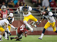 October 13th, 2012: California's Keenan Allen jumps to avoid Washington State's tackle during a game at Martin Stadium in Pullman, Wa    California defeated Washington State 31 - 17