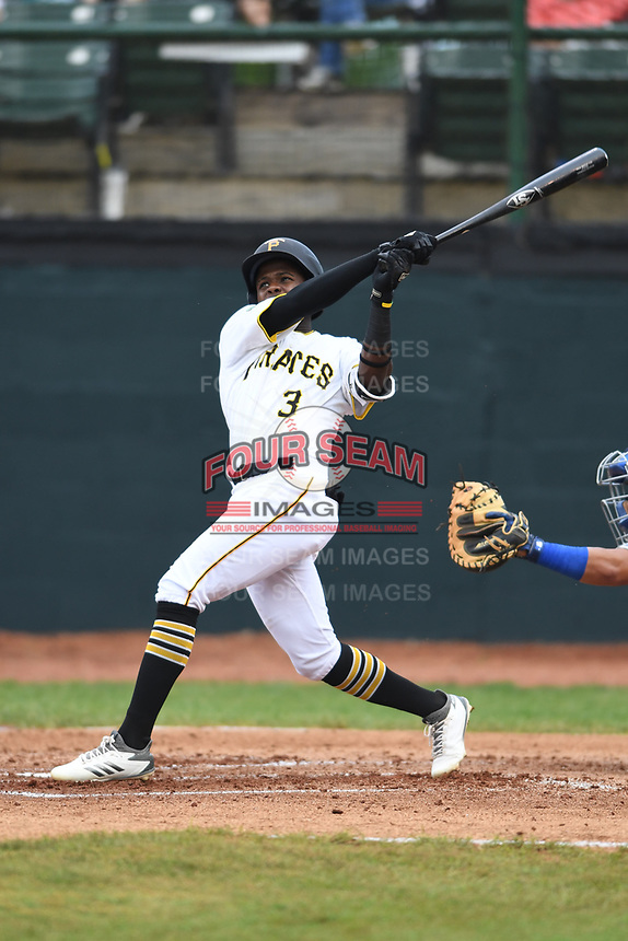Bristol Pirates Jesus Valdez (3) bats during the game with the Burlington Royals at Boyce Cox Field on June 19, 2019 in Bristol, Virginia. The Royals defeated the Pirates 1-0. (Tracy Proffitt/Four Seam Images)