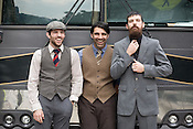 The Avett Brothers, from left, Scott Avett, Bob Crawford and Seth Avett prior to a show in Pittsburgh, PA, Saturday, June 21, 2008.