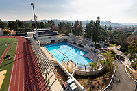 The De Mandel Aquatic Center at Occidental College in Los Angeles, California, Jan. 22, 2020. The new pool, designed by architectural firm of Moule & Polyzoides and landscaped by Van Atta Associates, holds 598,000 gallons of water and is a 58,000 square-foot complex where Oxy's swimming, diving and water polo teams will compete.<br /> (Photo by Marc Campos, Occidental College Photographer)