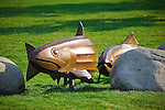 Bronze fish sculptures in Caras Park downtown Missoula, Montana