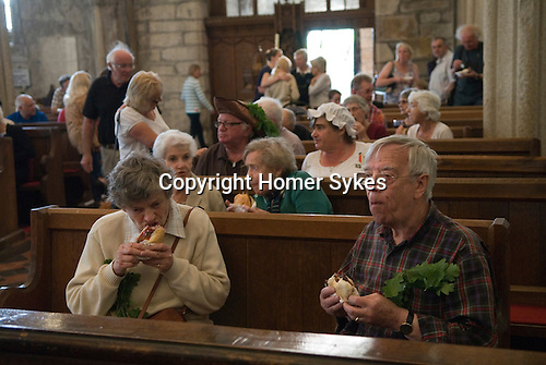 St Neot Cornwall. 29th May 2016 Oak Apple Day celebration. Beer and BBQ in the church.