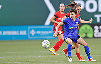 Portland, OR - Saturday July 30, 2016: Meleana Shim, Keelin Winters during a regular season National Women's Soccer League (NWSL) match between the Portland Thorns FC and Seattle Reign FC at Providence Park.
