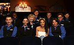 Storm Lever hangs with the ushers during her  Broadway Debut Photo Shoot at the Lunt-Fontanne Theatre on June 26, 2018 in New York City.