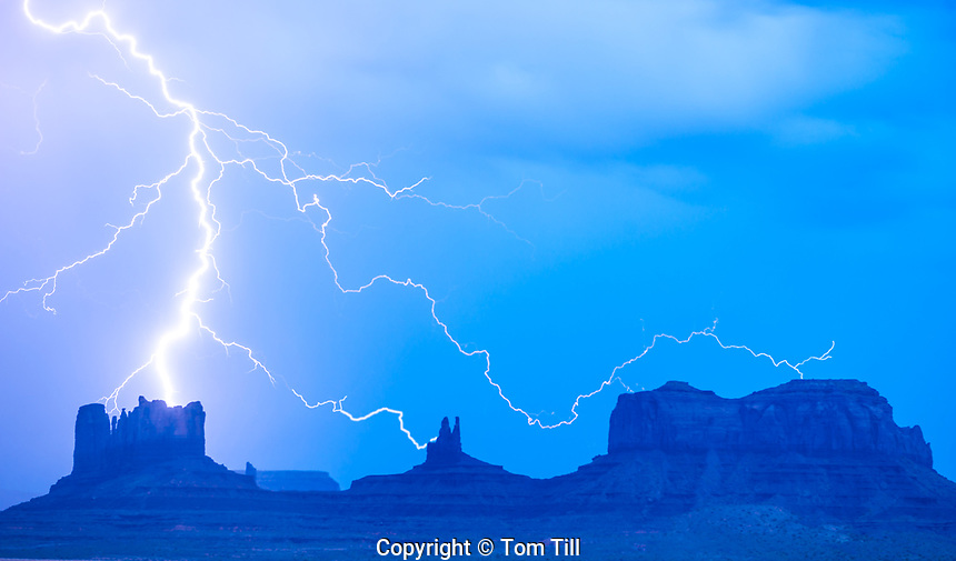 LIghtning striking Monument Valley, Utah  Monument Valley Tribal Park Navajo Reservation