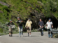 Michael Nihei, Alex Lyngaas, Jørgen Stokke Halvorsen, Morten Bechstrøm and Eirik Vaage about to battle it out in the first Norwegian championship. The first ever Norwegian Longboarding Championship was held during the Extreme Sport Week, an annual event that draws adrenalin junkies to the small Norwegian mountain town of Voss. © Fredrik Naumann