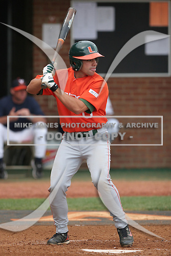 Roger Thomas of the Miami Hurricanes vs. the Virginia Cavaliers: March 24th, 2007 at Davenport Field in Charlottesville, VA.  Photo copyright Mike Janes Photography 2007.