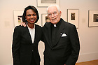 United States Secretary of State Condoleeza Rice and Notre Dame President Emeritus Rev. Theodore Hesburgh pose for a photo during a 90th birthday celebration for Fr. Hesburgh at the Smithsonian Institution's National Portait Gallery in Washington D.C.  Photo by Matt Cashore