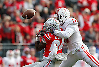 Ohio State Buckeyes wide receiver Corey Smith (84) gets tangled up with Indiana Hoosiers cornerback Michael Hunter (17) in the third quarter at Ohio Stadium Nov. 22, 2014.(Dispatch photo by Eric Albrecht)