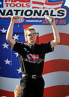 Sept. 6, 2010; Clermont, IN, USA; NHRA pro stock motorcycle rider Andrew Hines during driver introductions prior to the U.S. Nationals at O'Reilly Raceway Park at Indianapolis. Mandatory Credit: Mark J. Rebilas-