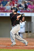 Quad Cities River Bandits shortstop Dayne Parker (27) at bat during a game against the Cedar Rapids Kernels on August 19, 2014 at Perfect Game Field at Veterans Memorial Stadium in Cedar Rapids, Iowa.  Cedar Rapids defeated Quad Cities 5-3.  (Mike Janes/Four Seam Images)