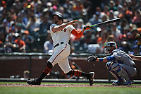 SAN FRANCISCO, CA - APRIL 8:  Hunter Pence #8 of the San Francisco Giants bats against the Los Angeles Dodgers during the game at AT&T Park on Sunday, April 8, 2018 in San Francisco, California. (Photo by Brad Mangin)