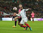 Danny Rose of England goes down in the box after he was clipped by Robert Snodgrass of Scotland during the FIFA World Cup Qualifying Group F match at Wembley Stadium, London. Picture date: November 11th, 2016. Pic David Klein/Sportimage