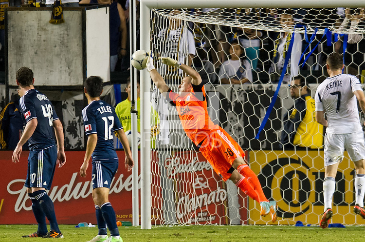 CARSON, CA - November 1, 2012: Vancouver goalie Brad Knighton (18) makes a save during the LA Galaxy vs the Vancouver Whitecaps FC at the Home Depot Center in Carson, California. Final score LA Galaxy 2, Vancouver Whitecaps FC 1.