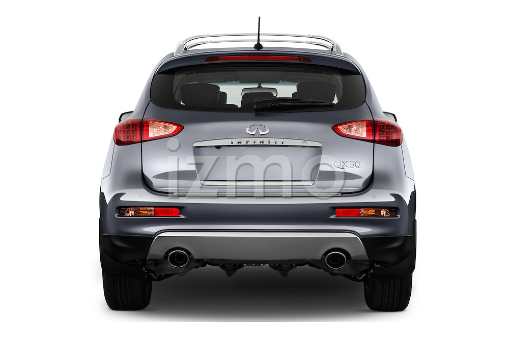 Straight rear view of 2017 Infiniti QX50 - 5 Door Suv Rear View  stock images