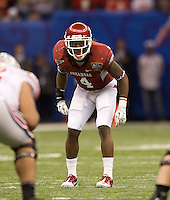 Rudell Crim of Arkansas in action against Ohio State during 77th Annual Allstate Sugar Bowl Classic at Louisiana Superdome in New Orleans, Louisiana on January 4th, 2011.  Ohio State defeated Arkansas, 31-26.
