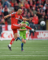 Danny Dichio of Toronto FC clears a ball during MLS action at BMO Field on April 4, 2009. Seattle won 2-0.