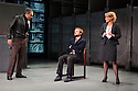 London, UK. 08.12.2015. Hampstead Theatre presents HAPGOOD, by Tom Stoppard, directed by Howard Davies. Picture shows: Gerald Kyd (Ridley), Nick Blakely (Maggs), Lisa Dillon (Hapgood). Photograph © Jane Hobson.