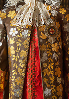 BNPS.co.uk (01202 558833)<br /> Pic: PhilYeomans/BNPS<br /> <br /> James II's incredibly ornate wedding gown recreated in paper.<br /> <br /> Wasted Paper...This might be the only chance history fans get to see the incredible paper creations that tell the story of one of Britain's most historic homes, as the National Trust becomes the latest victim of coronavirus.<br /> <br /> 'Fashioned from Paper' had only just opened at Knole House near Sevenoaks before the National Trust annouced the closure of the historic Kent property from today.<br /> <br /> Now Artist Denise Watson's intricate creations may never be seen as know one knows when the historic home will reopen.<br /> <br /> Denise had taken inspiration from the valuable collection of portrait paintings bought up by the aristocratic Sackville-West family over the stately homes 600 year history.<br /> <br /> The enormous building, one of the largest houses in Britain, was once owned by Archbishop Thomas Cranmer before Henry VIII th covetous gaze forced him to hand it over to the acquisitive monarch in the mid 16th century.<br /> <br /> Elizabeth I later gifted Knole to Thomas Sackville, 1st Earl of Dorset, and the Sackville-West's still inhabit part of the property to this day.