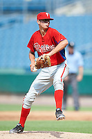 Andy Ravel #9 of Wilson (West Lawn) High School in Sinking Spring, Pennsylvania  playing for the Philadelphia Phillies scout team during the East Coast Pro Showcase at Alliance Bank Stadium on August 2, 2012 in Syracuse, New York.  (Mike Janes/Four Seam Images)