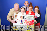 Presenting the prizes to the Jedward competition winners from left: Danny Leane,  Holly Moriarty, Brendan Kennelly, (Kerry's Eye) Twins, Sarah Murphy and Laura Murphy..