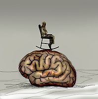 Elderly man in rocking chair on top of large brain