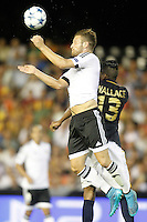 Valencia's Shkodran Mustafi (l) and AS Monaco FC's Wallace during Champions League 2015/2016 Play-Offs 1st leg match. August  19,2015. (ALTERPHOTOS/Acero)