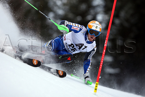 27.01.2013, Kitzbuehel, Austria. Axel Baeck (SWE) whilst competing in the FIS Alpine Ski World Cup Hahnenkamm Men's Slalom