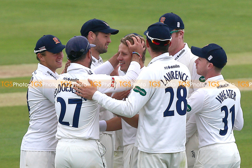 Neil Wagner (C) of Essex is congratulated by his team mates after taking the wicket of James Vince during Essex CCC vs Hampshire CCC, Specsavers County Championship Division 1 Cricket at The Cloudfm County Ground on 21st May 2017