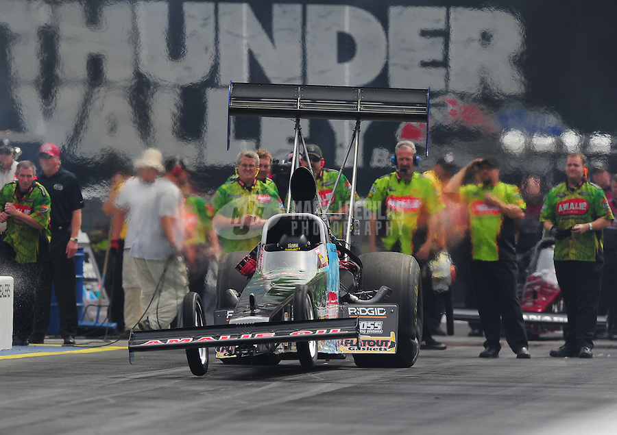 Jun. 19, 2011; Bristol, TN, USA: NHRA top fuel dragster driver Austin Lambright during eliminations at the Thunder Valley Nationals at Bristol Dragway. Mandatory Credit: Mark J. Rebilas-