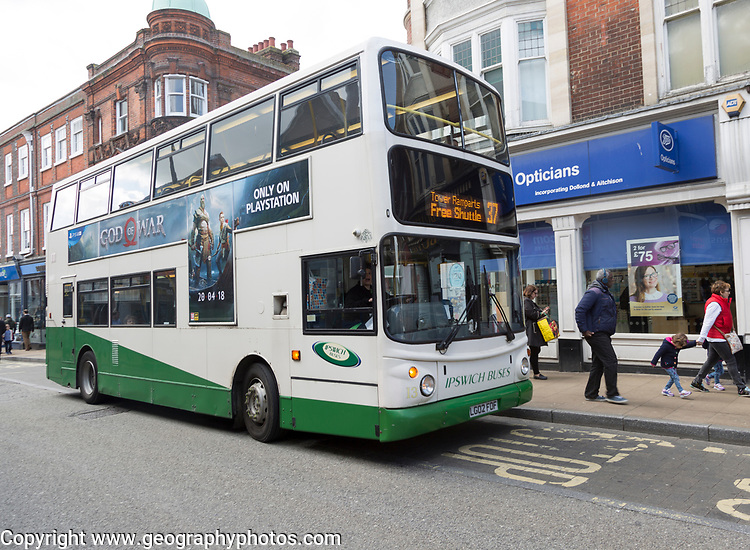 Double-decker free shopping shuttle bus, Ipswich Buses transport, Ipswich, Suffolk, England, UK