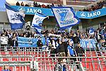 03.11.2018, BayArena, Leverkusen, GER, 1. FBL,  Bayer 04 Leverkusen vs. TSV 1899 Hoffenheim,<br />  <br /> DFL regulations prohibit any use of photographs as image sequences and/or quasi-video<br /> <br /> im Bild / picture shows: <br /> Fans, freundlich, Stimmung, farbenfroh, Nationalfarbe, geschminkt, Emotionen, hoffenheimer nach dem Sieg <br /> Foto &copy; nordphoto / Meuter