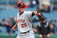 Rochester Red Wings starting pitcher P.J. Walters #25 delivers a pitch during the opening game of the International League season against the Rochester Red Wings at Alliance Bank Stadium on April 5, 2012 in Syracuse, New York.  Rochester defeated Syracuse 7-4.  (Mike Janes/Four Seam Images)