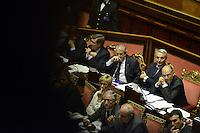 Roma, 2 Ottobre 2013<br /> Senato <br /> Il primo Ministro Enrico Letta e i Ministri soddisfatti dopo l'intervento di Silvio Berlusconi