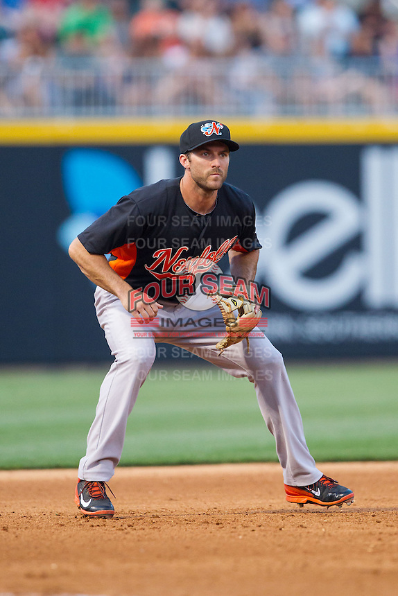 Norfolk Tides third baseman Steve Lombardozzi (1) on defense against the Charlotte Knights at BB&T Ballpark on May 21, 2014 in Charlotte, North Carolina.  The Tides defeated the Knights 10-3.  (Brian Westerholt/Four Seam Images)