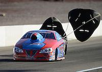 Oct. 27, 2012; Las Vegas, NV, USA: NHRA pro stock driver Kurt Johnson during qualifying for the Big O Tires Nationals at The Strip in Las Vegas. Mandatory Credit: Mark J. Rebilas-