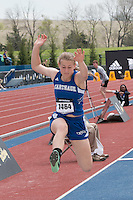 Carthage junior Kim Teed flies to victory in the girls triple jump with a winning mark of 36-11.75 and wind of 2.6 mph at the 2015 Kansas Relays.
