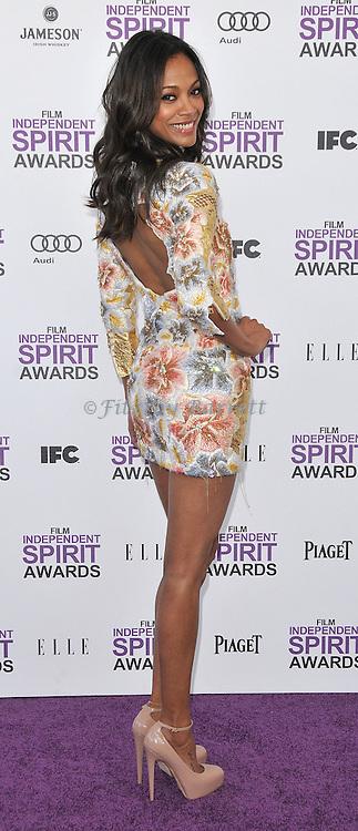 Zoe Saldana at the 2012 Film Independent Spirit Awards held at Santa Monica Beach, CA. February 25, 2012
