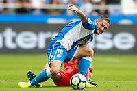 Deportivo de la Coruna's Florin Andone (f) and Real Sociedad's Alvaro Odriozola during La Liga match. September 10,2017.  *** Local Caption *** © pixathlon<br /> Contact: +49-40-22 63 02 60 , info@pixathlon.de