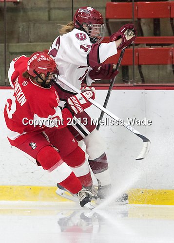 Kaleigh Fratkin (BU - 13), Samantha Reber (Harvard - 12) - The Harvard University Crimson defeated the visiting Boston University Terriers 3-1 on Friday, November 22, 2013, at Bright-Landry Hockey Center in Cambridge, Massachusetts.
