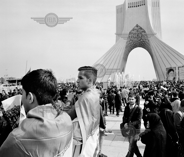 A huge crowd gathers in Azadi Square, beside the Azadi Tower (Freedom Tower), for celebrations marking the 35th anniversary of the Iranian Revolution.
