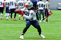 June 7, 2017: New England Patriots running back Brandon Bolden (38) catches the ball at the New England Patriots mini camp held on the practice field at Gillette Stadium, in Foxborough, Massachusetts. Eric Canha/CSM