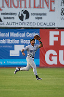 Hudson Valley Renegades outfielder Pedro Diaz (9) catches a fly ball during a NY-Penn League game against the Mahoning Valley Scrappers on July 15, 2019 at Eastwood Field in Niles, Ohio.  Mahoning Valley defeated Hudson Valley 6-5.  (Mike Janes/Four Seam Images)