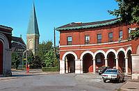Pullman:  Market Hall Square. Greenstone Church in background. Photo '77.