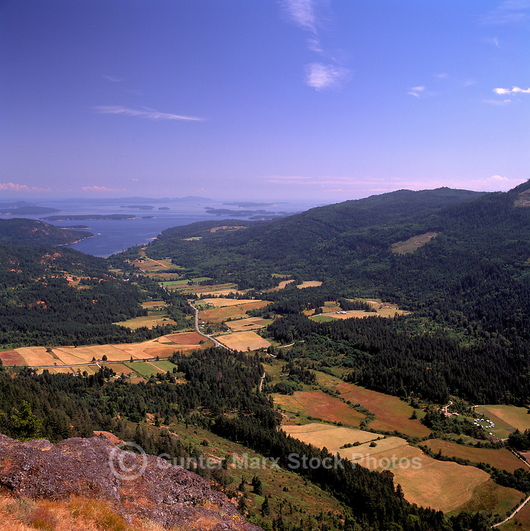 Saltspring (Salt Spring) Island, Southern Gulf Islands, BC, British Columbia, Canada - Aerial View of Fields, Fulford Harbour, and Strait of Georgia from Mt. Maxwell